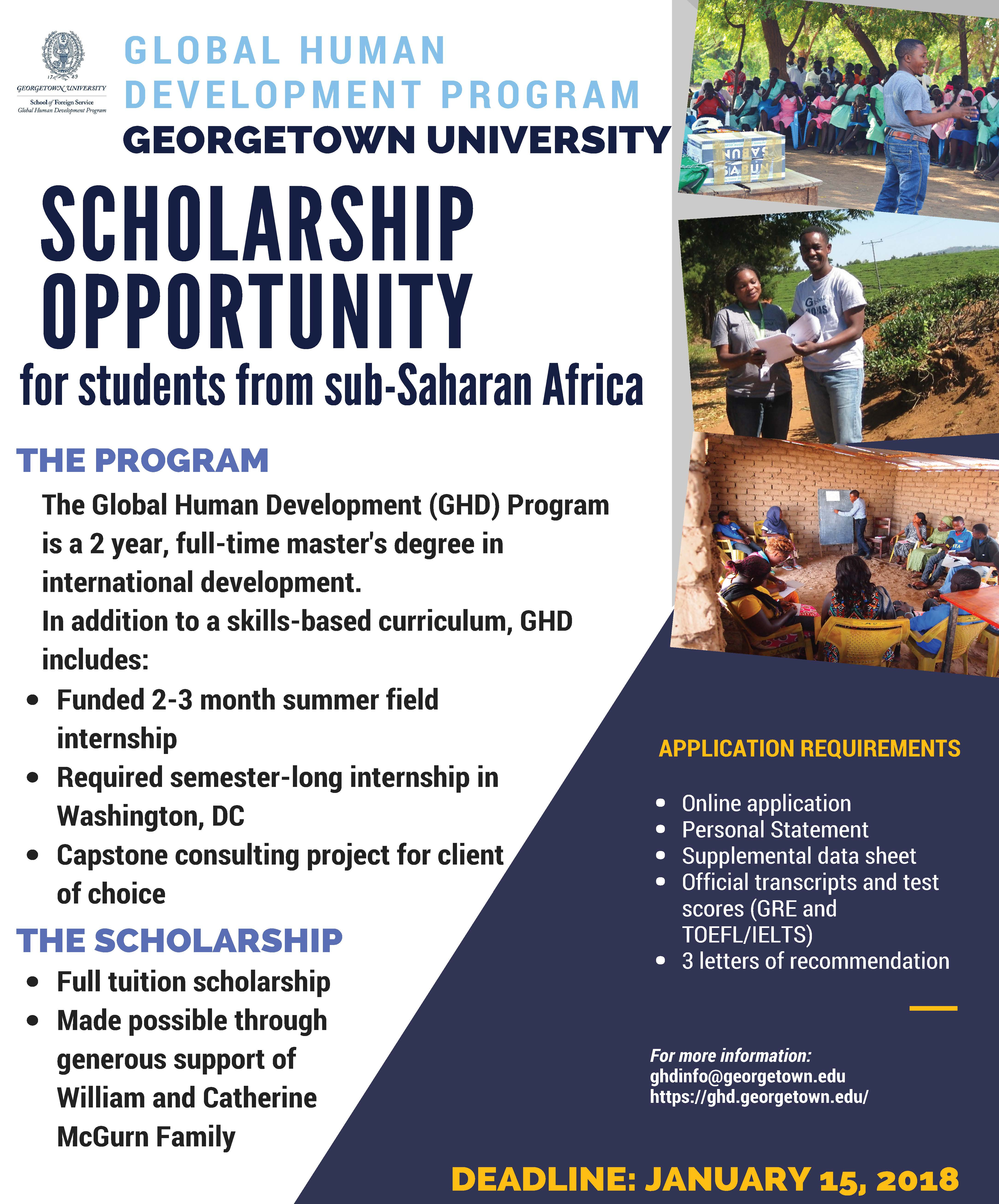 Georgetown University Fully-Funded Masters Scholarship for